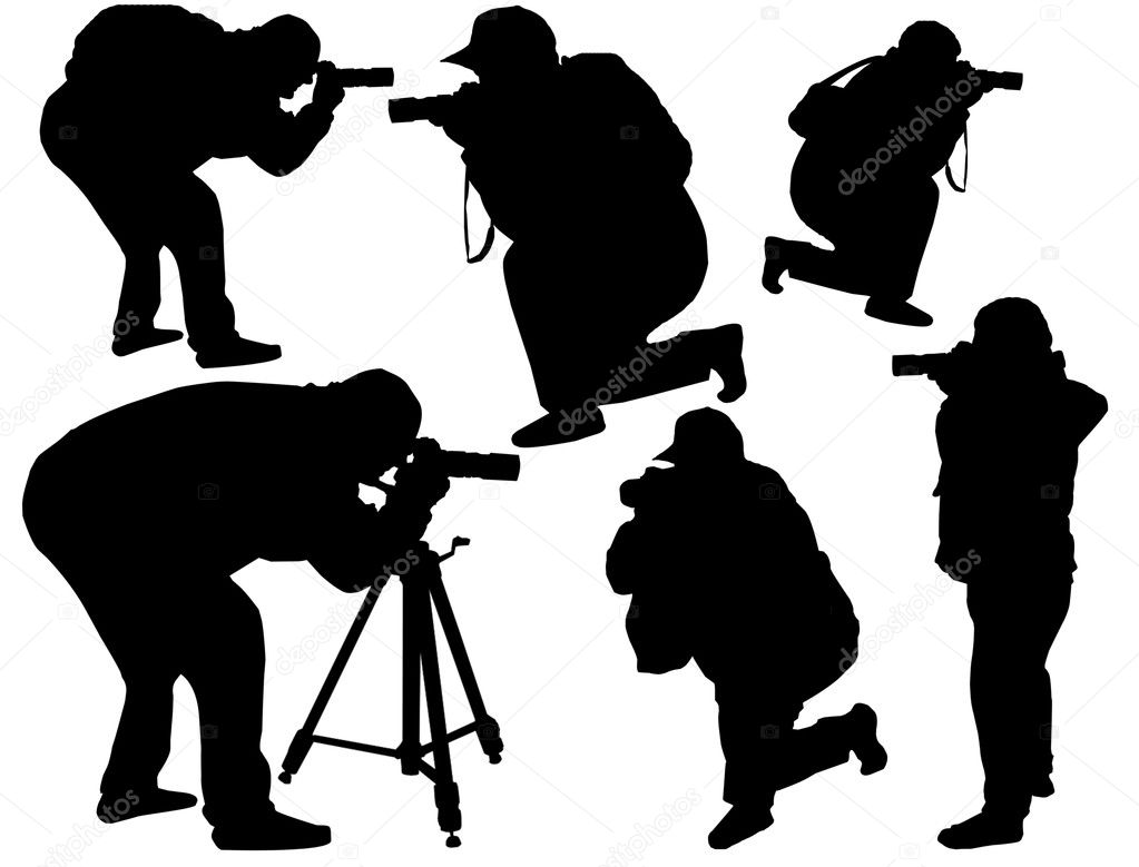 Vector illustration of professional photographers with equipment at work — Stock Vector #4799190