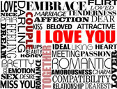 Various love words — Stockvector