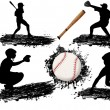 Baseball player silhouettes - Stock Vector