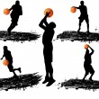 Stock Vector: Basketball player silhouettes