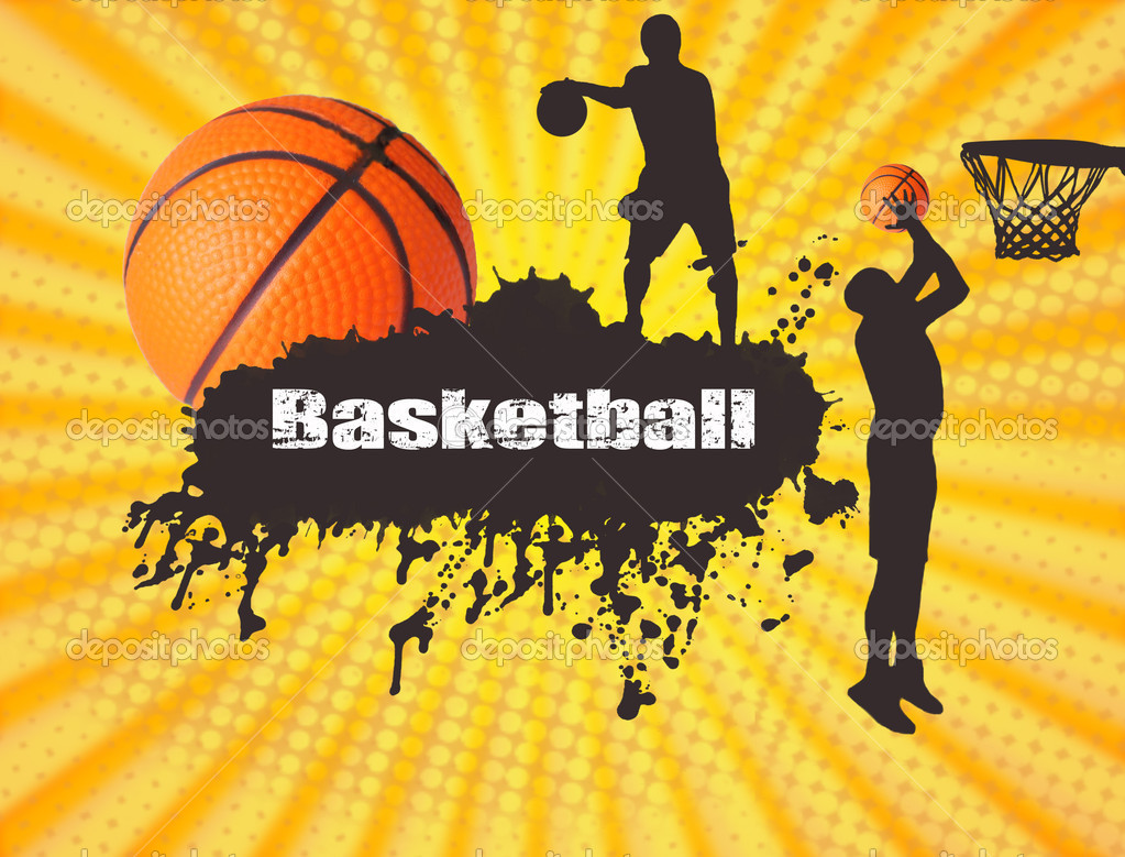 Grunge basketball poster with players and ball, vector illustration — Stock Vector #4834401