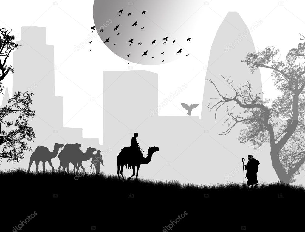Bedouins with camels on beautiful landscape, in black and white, vector illustration — Stock Vector #5120574