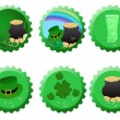 Set of St. Patrick bottle tops — Stock Vector