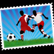 Postal soccer stamp — Stock Vector