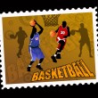Postal basketball stamp — Stock Vector