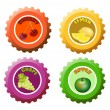 Fruit juice bottle caps — Stock Vector