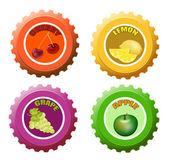 フルーツ ジュースのボトル キャップ — ストックベクタ