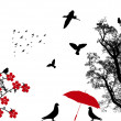 Vector de stock : Birds background