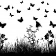 Royalty-Free Stock ベクターイメージ: Butterflies, flowers and grass background