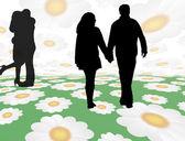 Lovers walking — Stock Vector