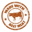 Stock Vector: Made with beef meat stamp