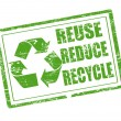 Reuse, reduce and recycle stamp — Stock vektor