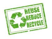 Riutilizzare, ridurre e riciclare il timbro — Vettoriale Stock