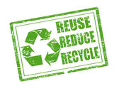 återanvända, minska och återvinna stämpel — Stockvektor