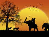 Archer elephant hunting — Stock Vector