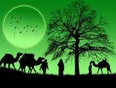 En islamisk solnedgång bakgrund — Stockvektor