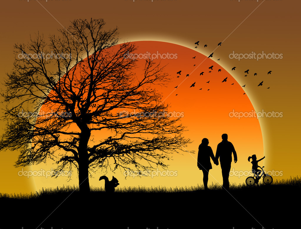 Lovers in a park under sunset, vector illustration — Stock Vector #5357113