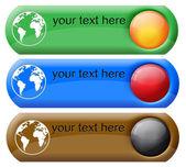 Earth globe push-button — Stock Vector
