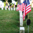 Row of tombstones with American flags — Stock Photo