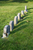 Row of aged tombstones — Stock Photo