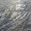 Stock Photo: Wintery tire tracks