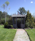 Garden shed brick path — Stock Photo