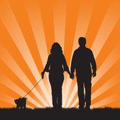 Couple walking their dog — Stock Vector