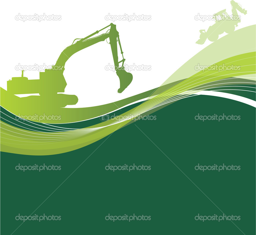 Digger on a abstract background — Stock Vector #4095641