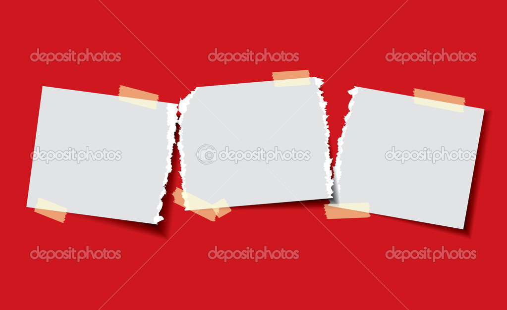 Torn paper taped down — Stock Vector #4108338