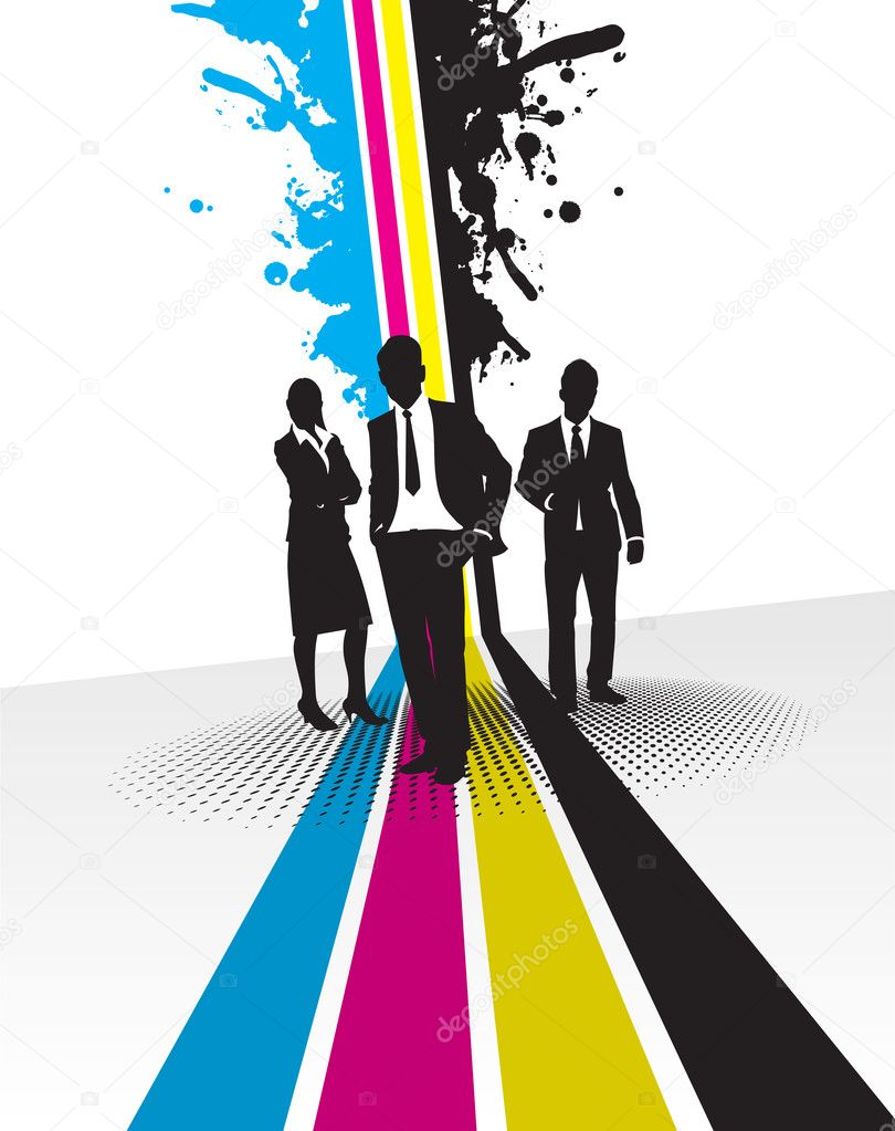 Business on a cmyk line background — Stock Photo #4777030