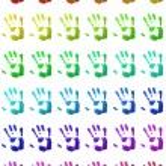 Colorful handprints — Stock Photo