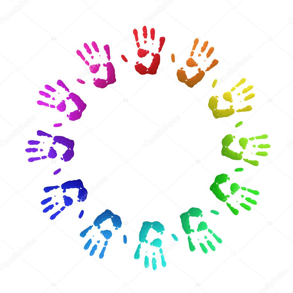 Colorful handprints, on white, of human hands in circle. — Stock Photo #4091783