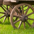 Wooden cart in a field — Stock Photo