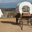 Stock Photo: Wagon and wigwam
