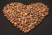 Coffee beans as a heart — Stock Photo