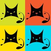 Katter på flerfärgad bakgrund. — Stockfoto