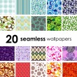 Seamless tile patterns — Stockvectorbeeld