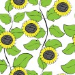 Stock Vector: Sunflowers repetition