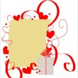 Stock Vector: Sheet of paper framed with red hearts and ribbons.