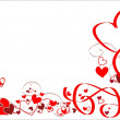 Romantic frame with hearts and ribbons. — Imagen vectorial
