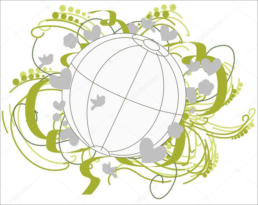 The globe is surrounded by flowers, ribbons, hearts, leaves, birds in the green-gray.. — Stock Vector #4663133