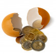 Brilliant golden coins hatched from the egg. — Stock Photo