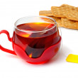 Cup of fresh tea and cookies. — Stock Photo