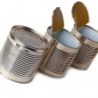 Stock Photo: Three tin cans.