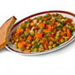 Stock Photo: Vegetable salad in plate and bread slice.