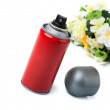 Deodorant in a red cylinder and the flowers. — Stock Photo
