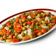 Vegetable salad in a plate and fork. — Stock Photo