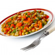 Stock Photo: Vegetable salad in plate and fork.