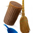 Basket  for garbage,  broom and a dustpan. — Stock Photo