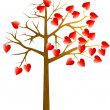 Stock Vector: Scarlet hearts tree